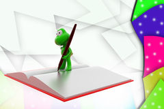 3d frog book and pen illustration Royalty Free Stock Photography