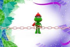 3d frog break chain illustration Stock Image