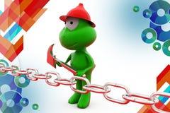 3d frog break chain illustration Stock Images