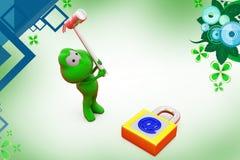 3d frog break mail lock  illustration Royalty Free Stock Image