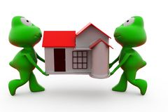 3d frog carry house concept Royalty Free Stock Image