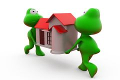 3d frog carry house concept Royalty Free Stock Photography