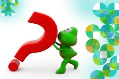 3d frog carry question mark illustration Stock Photos