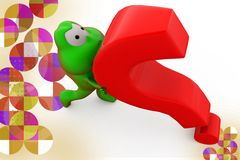 3d frog carry question mark illustration Royalty Free Stock Images