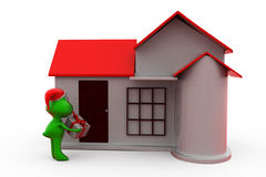 3d frog christmas gift and home concept Stock Images