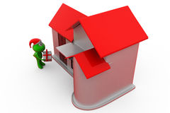 3d frog christmas gift and home concept Royalty Free Stock Images