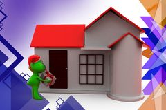 3d frog christmas gift and home illustration Royalty Free Stock Photo