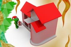 3d frog christmas gift and home illustration Stock Image