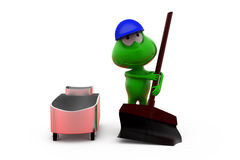 3d frog cleaning concept Royalty Free Stock Photography