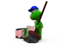 3d frog cleaning concept Royalty Free Stock Images