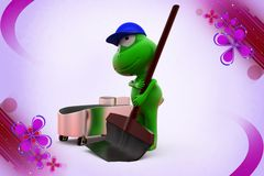 3d frog cleaning  illustration Stock Images