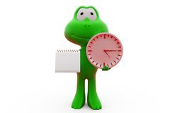3d frog clock calendar concept Royalty Free Stock Photo