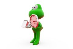 3d frog clock calendar concept Royalty Free Stock Images