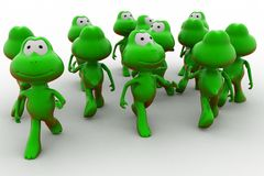 3d frog crowd concept Stock Image