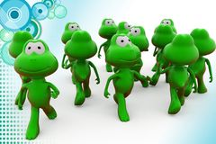 3d frog crowd illustration Royalty Free Stock Images