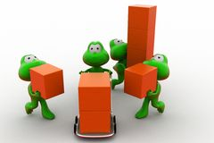 3d frog delivery team concept Stock Images
