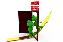 3d frog door to success with arrow concept Royalty Free Stock Photography