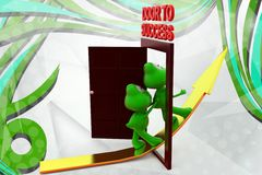 3d frog door to success with arrow illustration Stock Photos