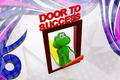 3d frog door to success with arrow illustration Stock Image