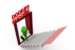 3d frog door to success concept Royalty Free Stock Photos