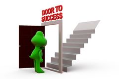 3d frog door to success concept Royalty Free Stock Image