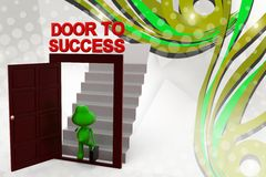 3d frog door to success  illustration Royalty Free Stock Photography