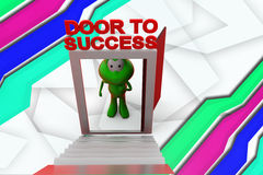 3d frog door to success illustration Royalty Free Stock Images
