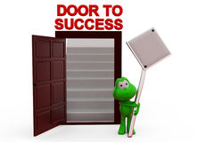 3d frog door to success with sign board concept Royalty Free Stock Image