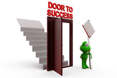 3d frog door to success with sign board concept Royalty Free Stock Photography