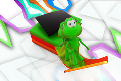 3d frog education growth illustration Royalty Free Stock Image