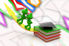 3d frog education growth illustration Royalty Free Stock Photos