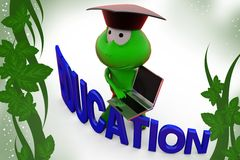 3d frog education  illustration Royalty Free Stock Images
