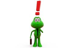 3d frog exclamation mark concept Royalty Free Stock Images