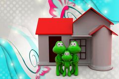 3d frog family with home  illustration Stock Photos