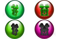 3d frog family icon Stock Images