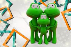 3d frog family  illustration Royalty Free Stock Photos