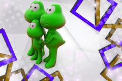 3d frog family  illustration Stock Photo