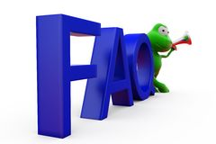 3d frog FAQ concept Stock Images
