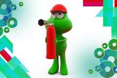3d frog fire extinguish  illustration Stock Photos