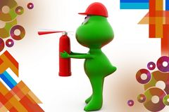 3d frog fire extinguish  illustration Royalty Free Stock Photography