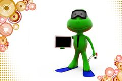 3d frog with flipper holding tablet illustration Stock Image