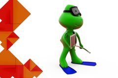 3d frog with flipper holding tablet illustration Stock Photography