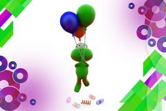 3d frog fly with balloon  illustration Royalty Free Stock Photography