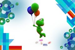 3d frog fly with balloon  illustration Stock Images
