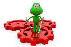 3d frog on gear concept Stock Images