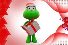 3d frog with goft box  illustration Stock Photography