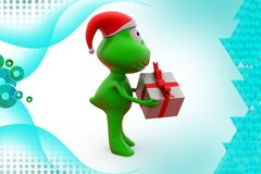 3d frog with goft box  illustration Royalty Free Stock Photography