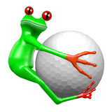3D frog - golf ball Royalty Free Stock Images