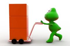 3d frog hand truck concept Royalty Free Stock Photo