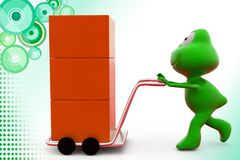 3d frog hand truck illustration Stock Images